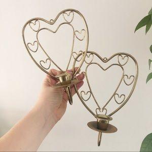 Gold Heart Candlestick Holder Set Boho Decor